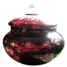Vintage Czech Ruby Etched Art Glass Covered Candy Dish