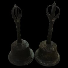 Pair Antique Tibetan Bronze Ceremonial Hand Bells, Age is Late Ming early Qing (Ching) Dynasty - Red Tag Sale Item
