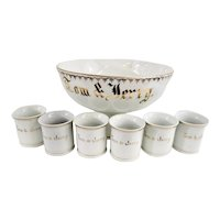 Vintage German Porcelain Punch Bowl Set