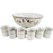 Vintage German Porcelain Punch Bowl Set