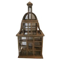 Large Victorian Wood and Wire Bird Cage