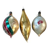 Vintage Tear Drop Glass Christmas Ornaments, 3pcs