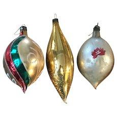 Vintage Tear Drop Glass Christmas Ornaments, 3pcs