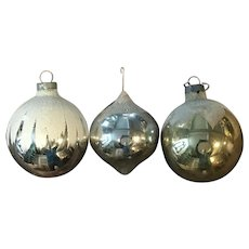 Vintage Round Glass Christmas Tree Ornaments, 3pcs