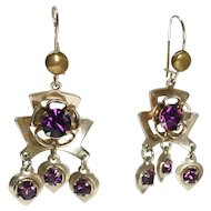 Art Deco Brass Earrings with Purple Rhinestones