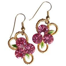 1980s Vintage Pink Rhinestone Earrings-Converted to Pierced Earhooks