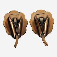 Signed Renoir Mid-Century Modernist Copper Blossom/Calla Lily Screwback Earrings