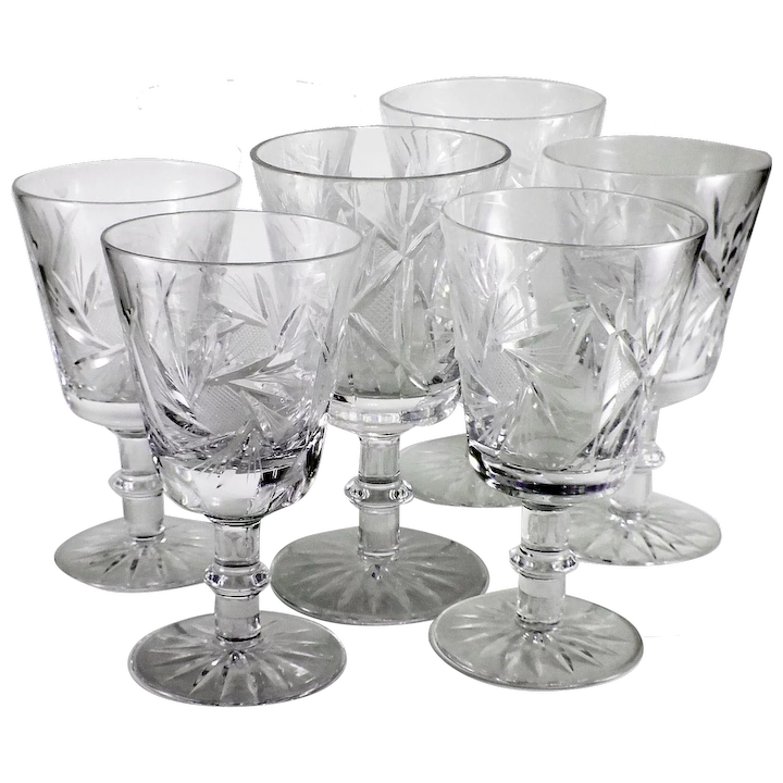 1920s Vintage Pinwheel Buzzsaw Pattern Cut Crystal Wine Glasses Set