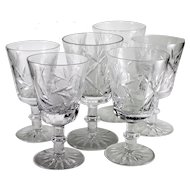 1920s Vintage Pinwheel/Buzzsaw Pattern Cut Crystal Wine Glasses-set of 6