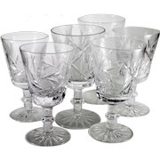 1920s Vintage Pinwheel/Buzzsaw Pattern Cut Crystal Wine Glasses-set of 6