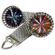 Mid-Century Silvertone Wraparound Cufflinks with Kaleidoscope Focals