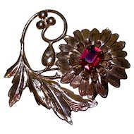 Rose Gold-plated Sterling Silver Chrysanthemum Flower Brooch with Rhinestone Center