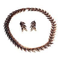Signed Renoir Mid-Century Modernist Copper Laurel Leaf Necklace and Clipback Earrings