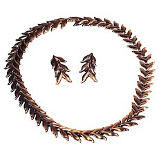 Signed Renoir Mid-Century Modernist Copper Laurel Leaf Necklace and Clipback Earrings