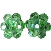 Green Faceted Glass Beaded Earrings-Converted to Pierced