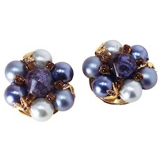 1950's Hong Kong Blue/Goldtone Beaded Clusters-Converted to Pierced