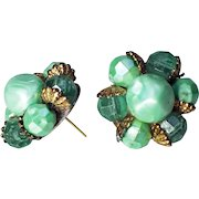 1950s Vintage Mint Green/Dark Green Beaded Cluster Earrings-Converted to Pierced