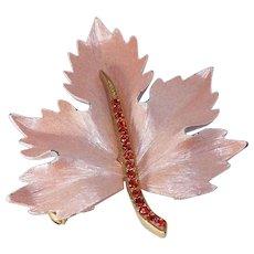 Pink Enameled Maple Leaf Brooch with Red Rhinestone Stem