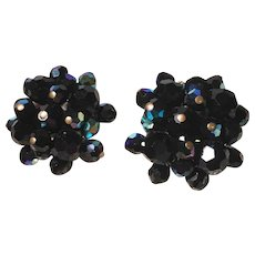 1960s Vintage Iridescent Blue/Black Faceted Bead Cluster Clipback Earrings
