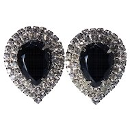 1950s Vintage Pear-shaped Black Rhinestone Clip-back Earrings