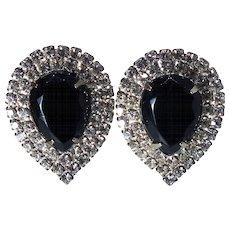 1950s Vintage Pear-shaped Black Rhinestone Clip-back Earrings
