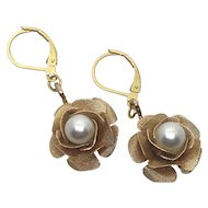 Goldtone Flower Earrings with Simulated Pearl Centers-Converted to Pierced