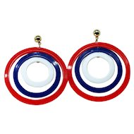 1940s Vintage Plastic Red, White and Blue Concentric Circle Earrings-Converted to Pierced