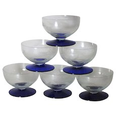 1940s Weston Glass Co. Cobalt Blue Footed Cut Crystal Cup-set of Six (6)