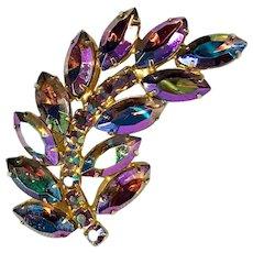 Iridescent Aurora Borealis Purple Rhinestone Feather Brooch