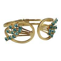 Vintage Aqua Rhinestone and Goldtone Brass Clamper Bracelet