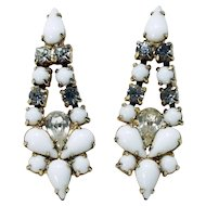 1940's Milk Glass and Crystal Rhinestone Gold-plated Dangles-Converted to Pierced Earrings