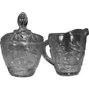 Anchor Hocking Early American Prescut (EAPC)/Star of David Pattern Pressed Glass Creamer and Sugar Bowl with Lid