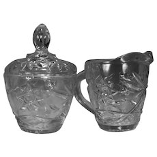 Anchor Hocking Early American Prescut (EAPC)Pattern Pressed Glass Creamer and Lidded Sugar Bowl