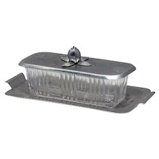 Rodney Kent Hand-Wrought Hammered Aluminum Covered Glass Butter Dish