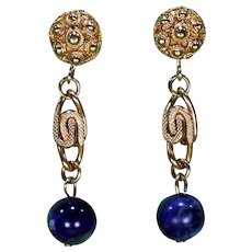 Vintage Goldtone Dangle Earrings with Blue/White Marbled Beads-Converted to Pierced