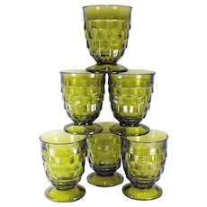 1960's Vintage Avocado Green Whitehall Cubist Footed Juice/Water Glasses by Indiana Glass-set of Six