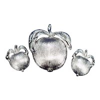"1960s Sarah Coventry ""Adam's Delight"" Apple Brooch and Clipback Earrings Set"