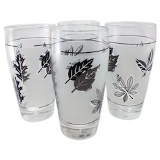 Mid-Century Libbey Silver Leaf Pattern-Silver/Grey Colored Foliage Tumblers-set of four