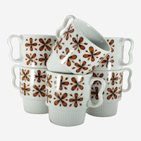 SY Japan Mid-Century Mod Stackable Mug set of Six (6)