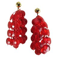 Vintage Plastic Translucent Red Beaded Tassel Earrings-Converted to Pierced