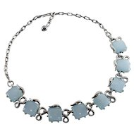 1950's Vintage Light Blue Moonglow Thermoset Lucite Necklace