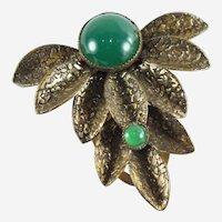 Art Deco Brass Fur/Dress Clip with Green Stone Focal