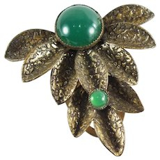 Art Deco Brass Fur/Dress Clip with Green Stone Focal