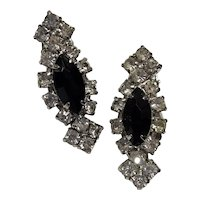 Art Deco-style Rhinestone Clipback Earrings