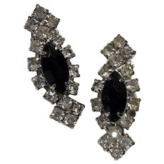 Art Deco-style Rhinestone Clipback Earrings