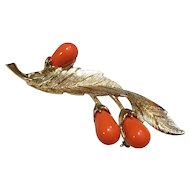 "1960's Sarah Coventry ""Bittersweet"" Branch with Orange Berries Brooch"