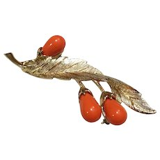 """1960's Sarah Coventry """"Bittersweet"""" Branch with Orange Berries Brooch"""