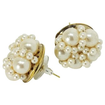 Mid-Century Faux Pearl Beaded Cluster Earrings-Converted to Pierced