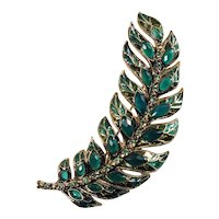 Signed Monet Large Gold-plated Feather Brooch with Green Rhinestones
