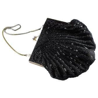 1960s Vintage Black Hand-beaded  Handbag-Richere bag by Walborg